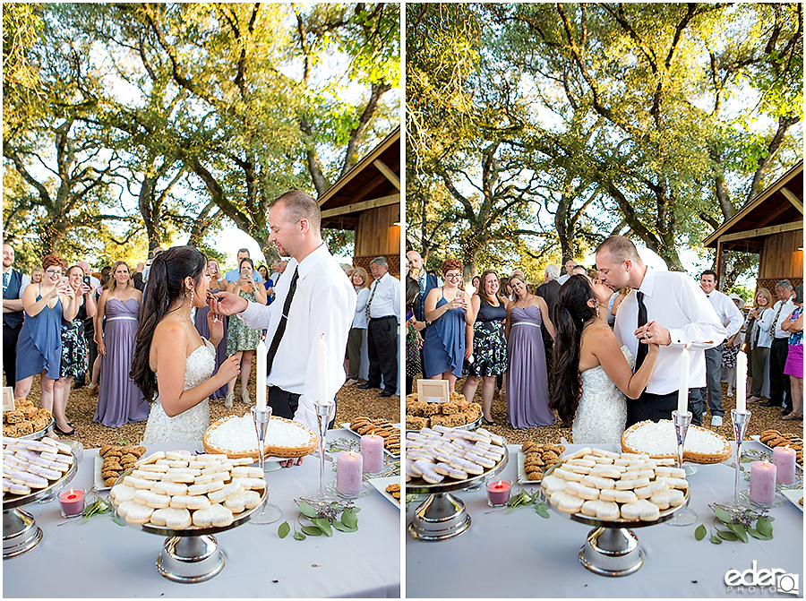 Vineyard Wedding bride and groom cookie cutting.