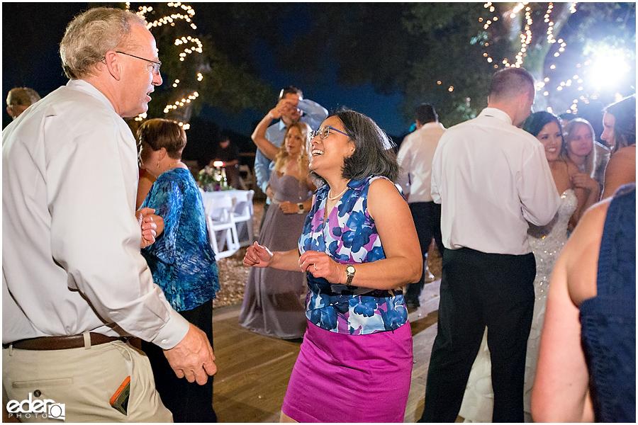 Vineyard Wedding reception dancing.