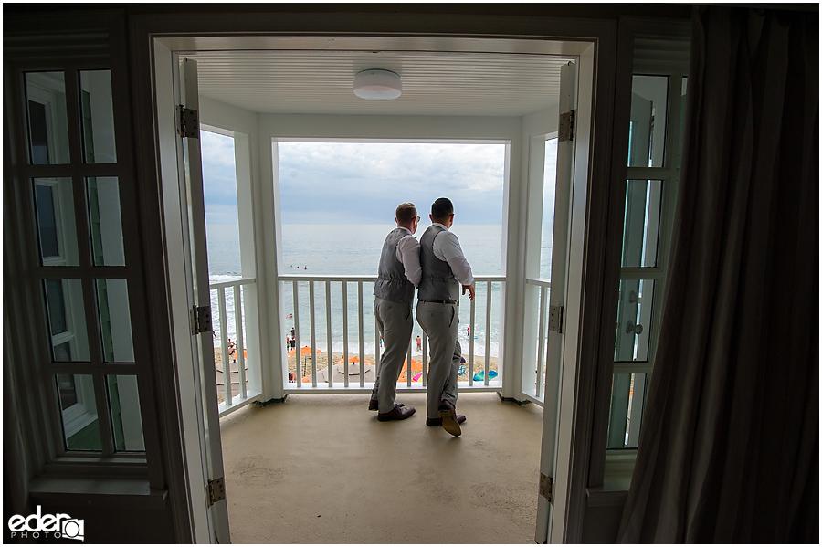 Laguna Beach Wedding - grooms on suite deck.