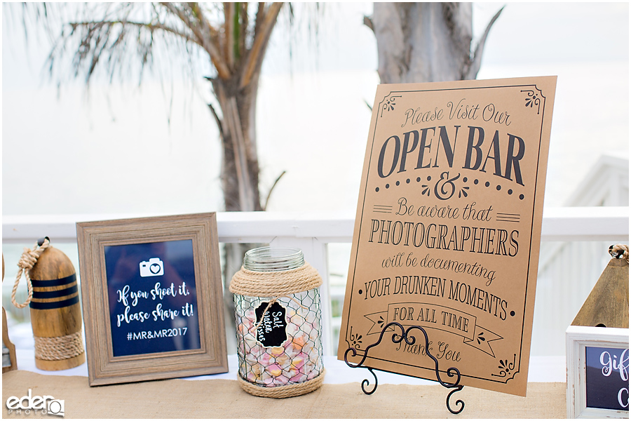 Laguna Beach Wedding ceremony at Occasions - open bar sign