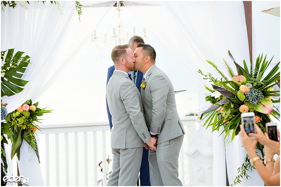 Laguna Beach Wedding ceremony at Occasions - kiss