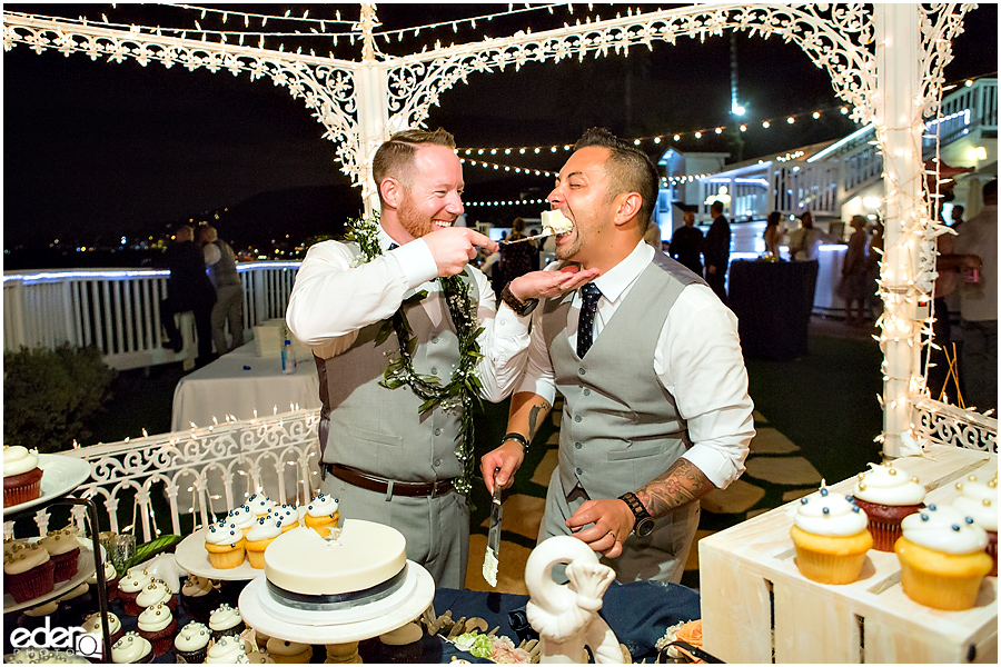 Laguna Beach Wedding at Occasions - cake cutting