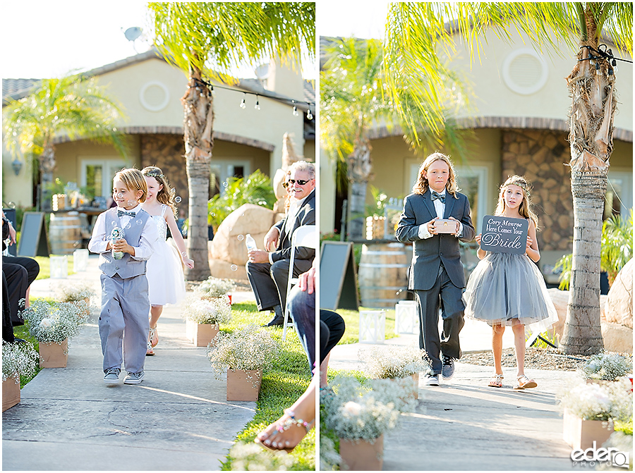 Private Estate Wedding Ceremony: ring bearer and flower girl