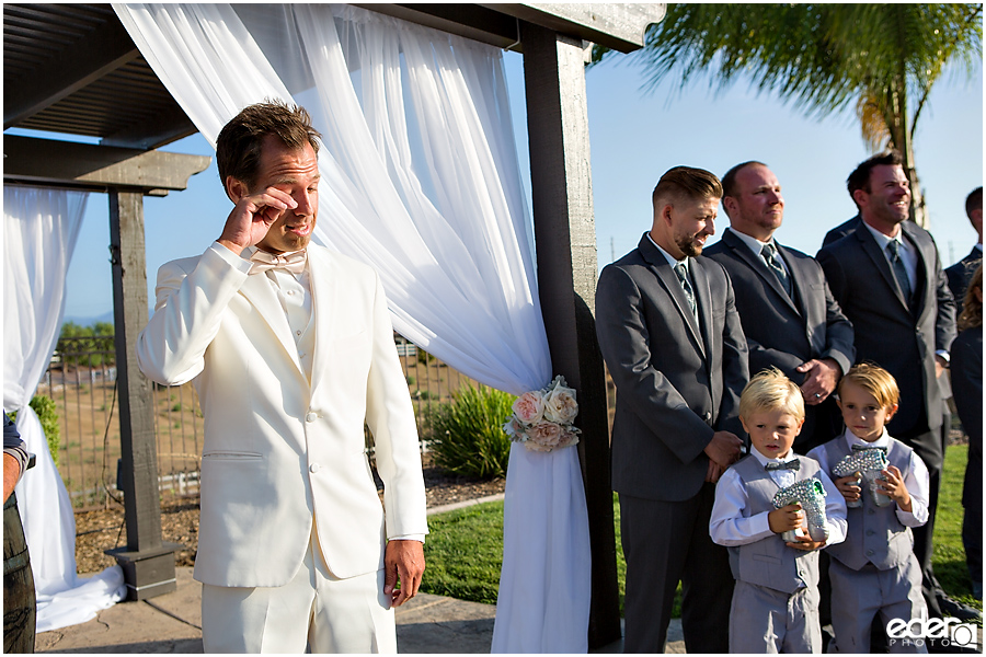 Private Estate Wedding Ceremony: groom crying