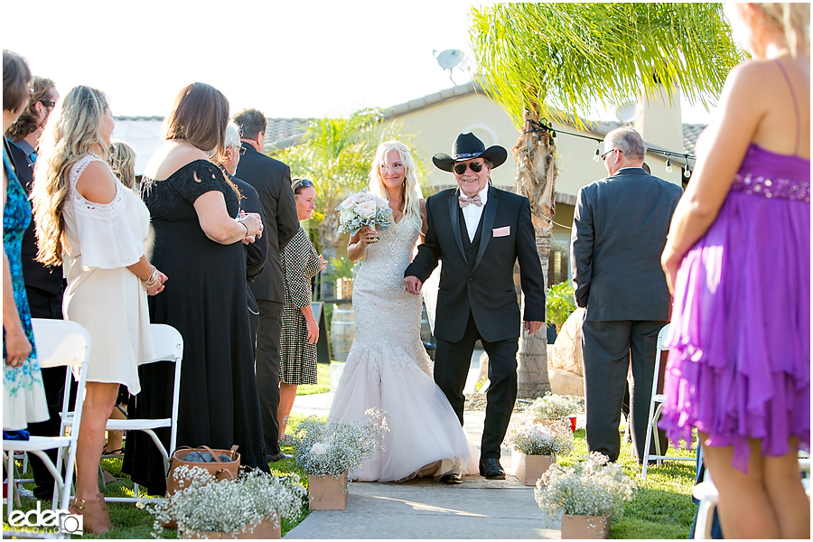 Private Estate Wedding Ceremony: bride and father