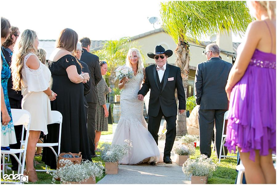 Private Estate Wedding Ceremony: bride and father