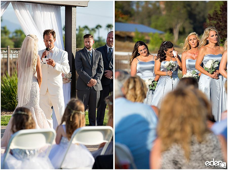 Private Estate Wedding Ceremony: vow exchange