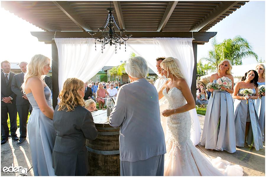 Private Estate Wedding Ceremony: sand ceremony