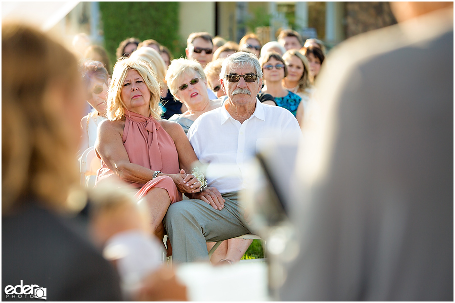 Private Estate Wedding Ceremony: parents watching