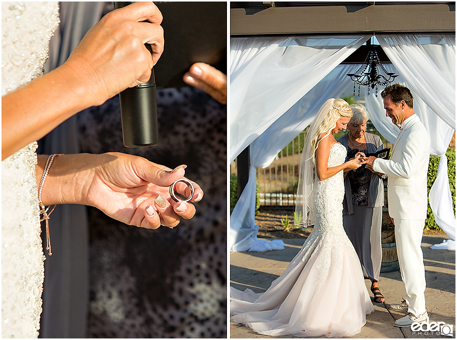 Private Estate Wedding Ceremony: ring exchange