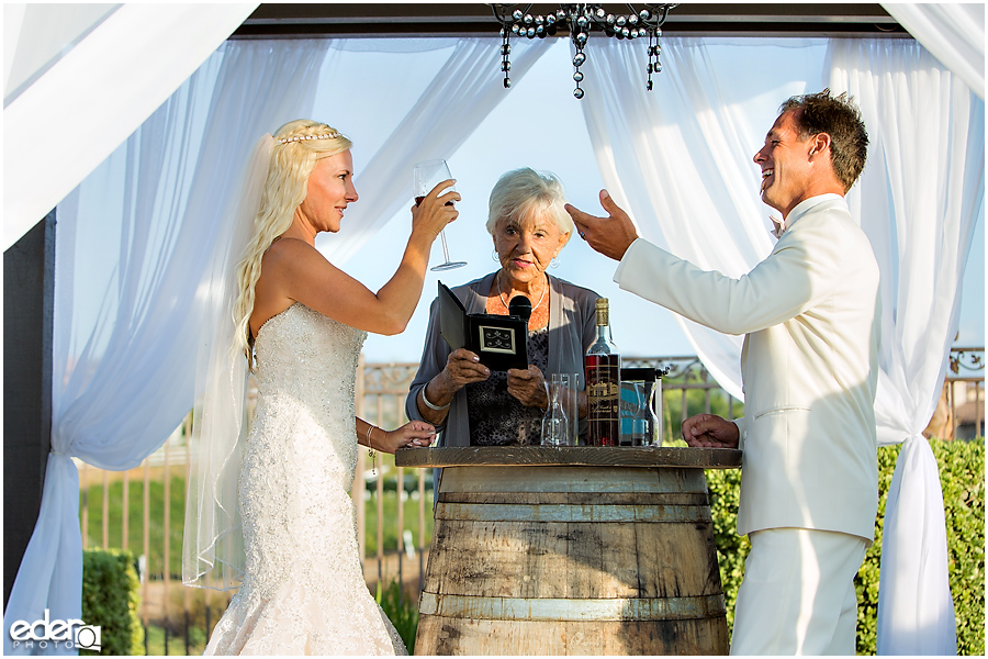 Private Estate Wedding Ceremony: wine mixing
