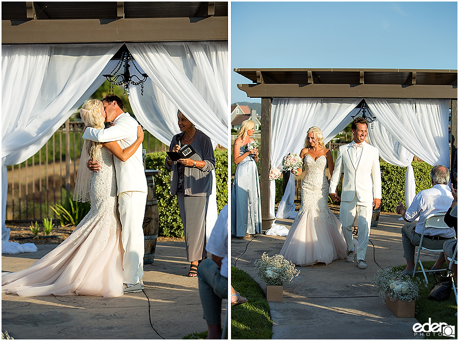 Private Estate Wedding Ceremony: first kiss