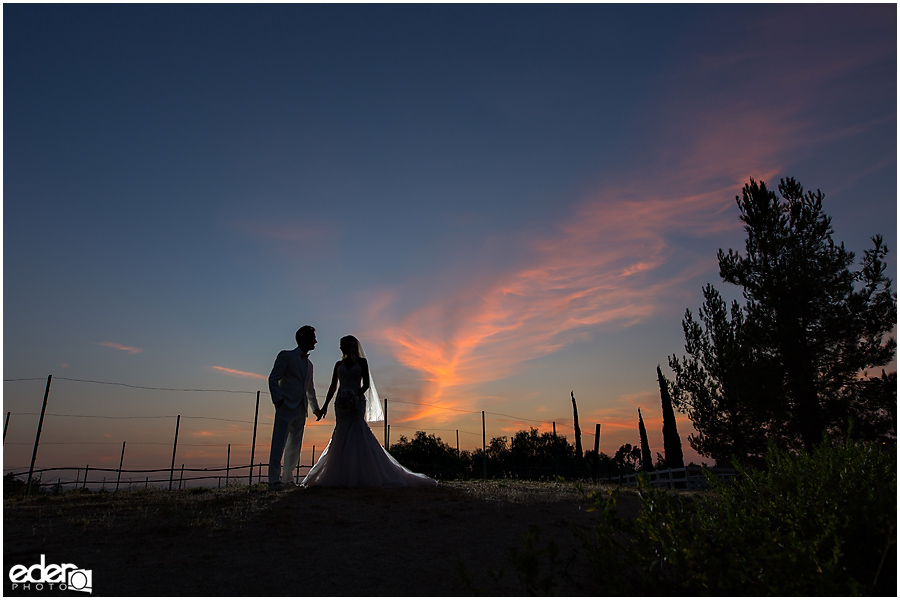 Private Estate Wedding Ceremony: bride and groom sunset portraits