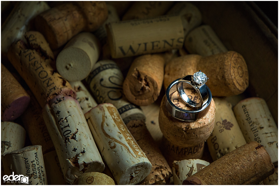 Private Estate Wedding ring photo on wine corks