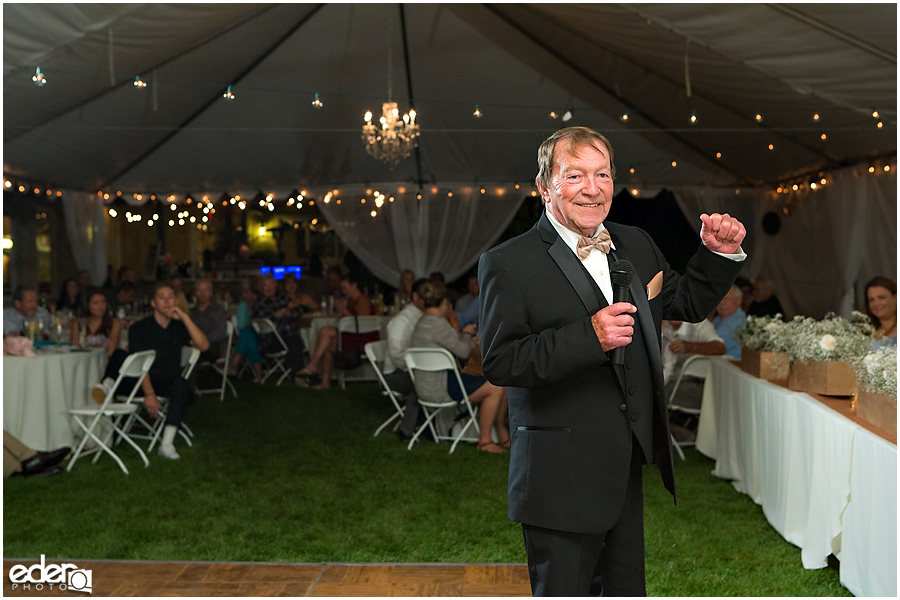 Private Estate Wedding Reception: father of the bride toast