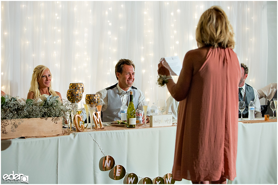 Private Estate Wedding Reception: mother of the groom toast