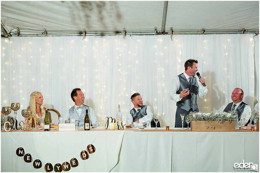 Private Estate Wedding Reception: groomsmen toast