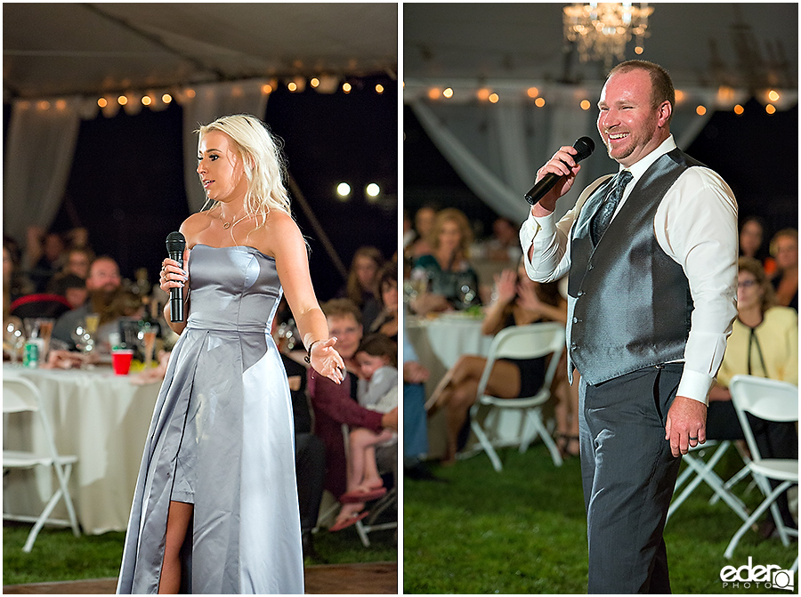 Private Estate Wedding Reception: wedding party toast