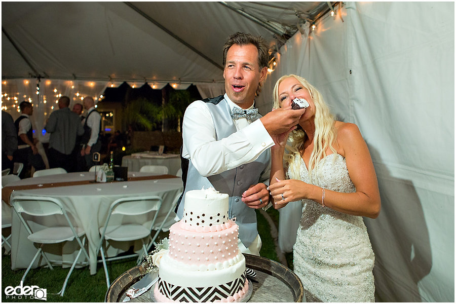 Private Estate Wedding Reception: cake cutting