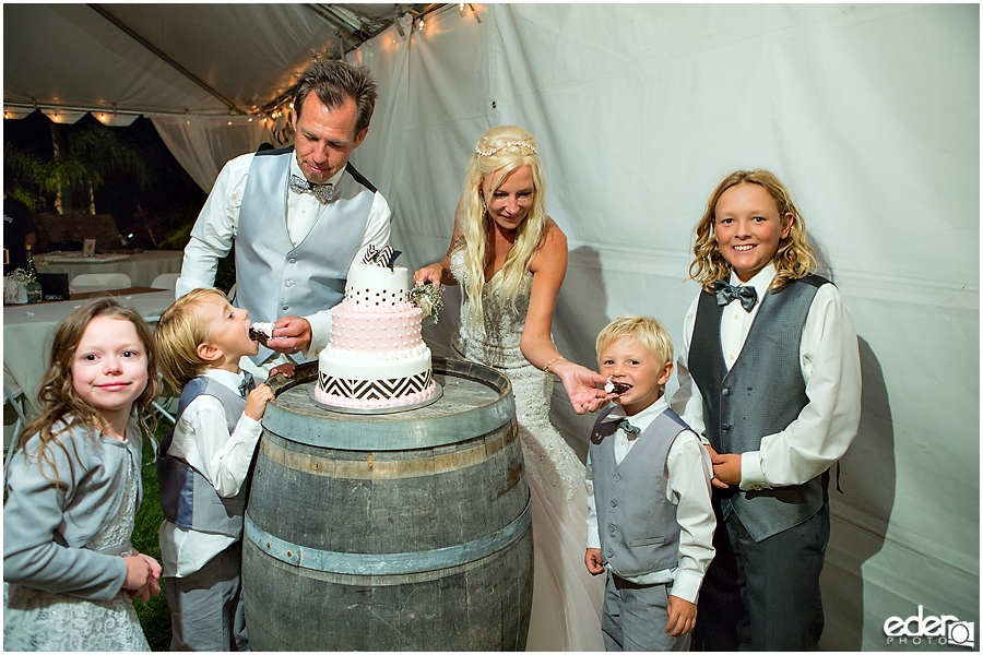 Private Estate Wedding Reception: cake cutting