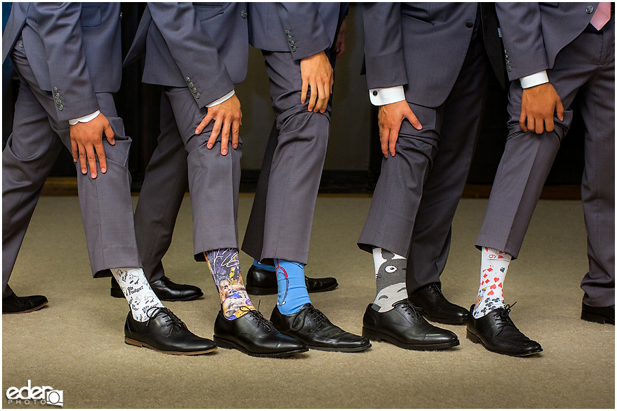 Wedding at The US Grant - photo of grooms socks.