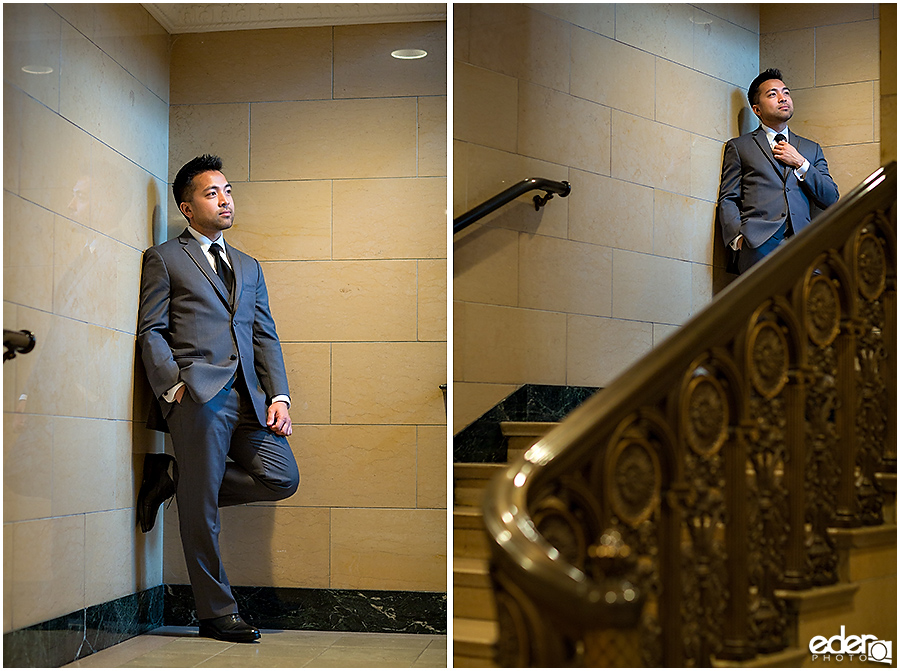 Wedding at The US Grant - photo of groom on stairs.