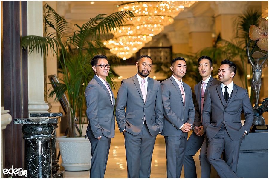 Wedding at The US Grant - photo of groomsmen in lobby.