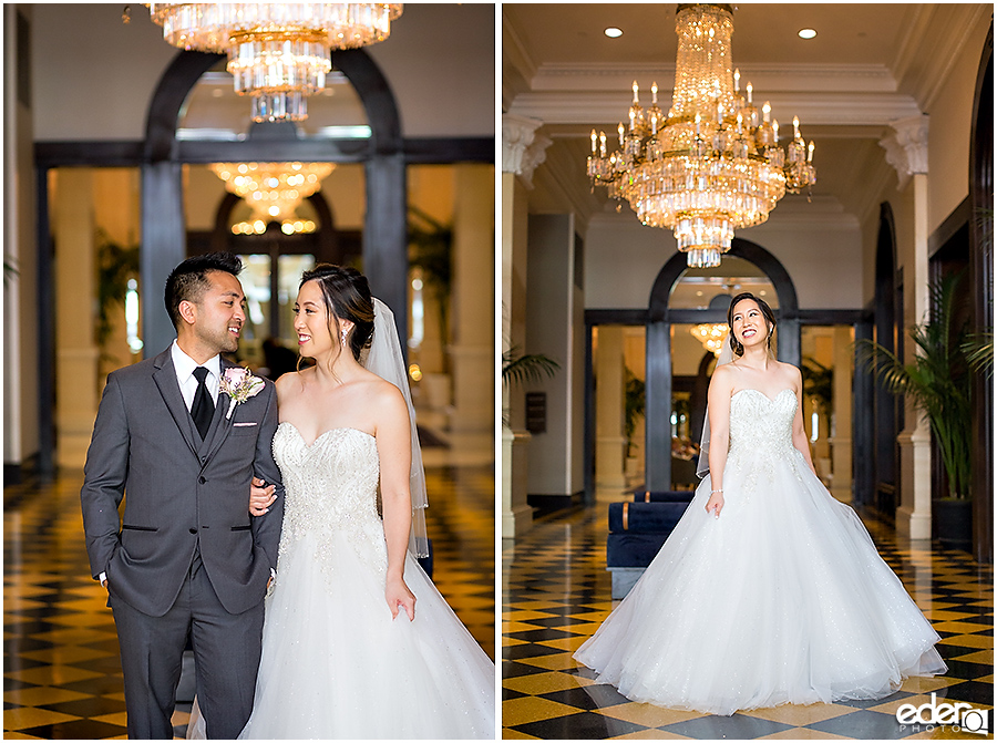 Wedding at The US Grant - photo of bride and groom with chandeliers.