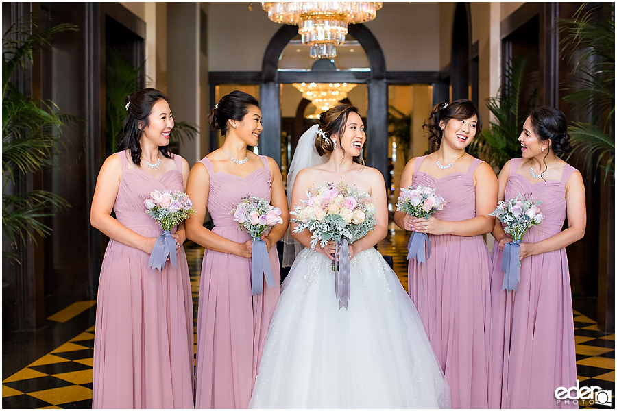 Wedding at The US Grant - photo of bridesmaids with chandeliers.