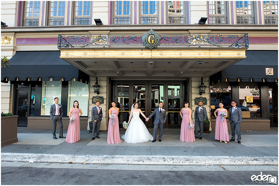 Wedding at The US Grant - photo of wedding party on sidewalk.