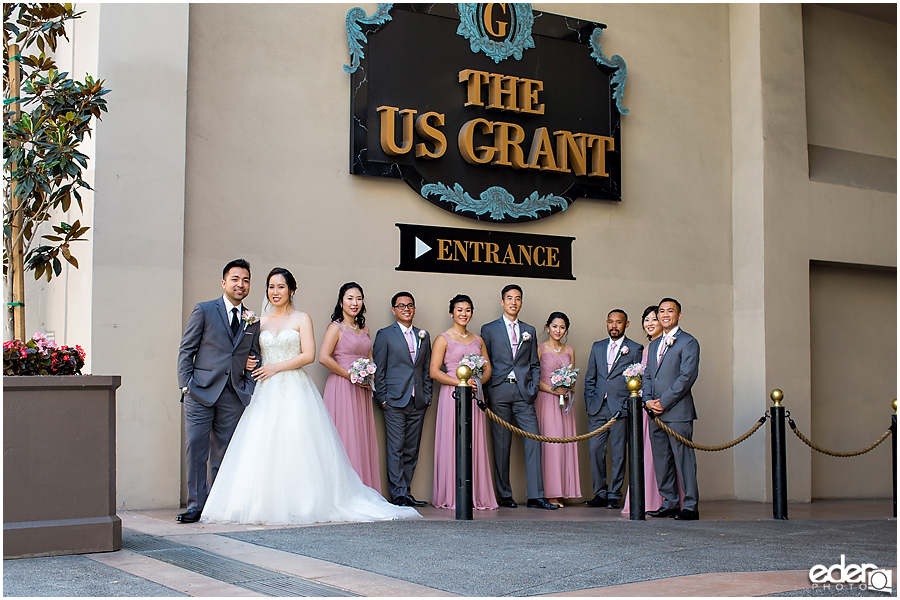 Wedding at The US Grant - photo of wedding party at entrance.