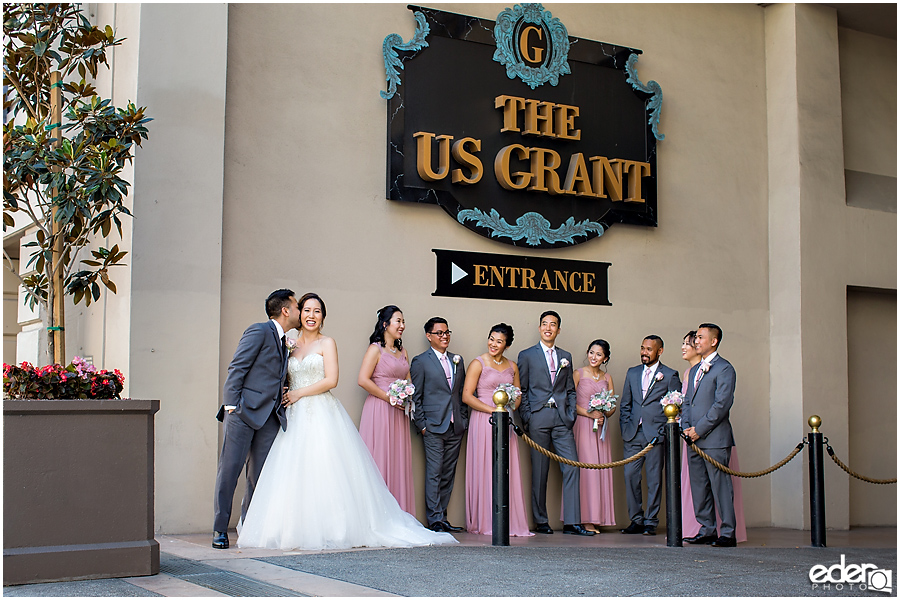 Wedding at The US Grant - photo of kiss on cheek.