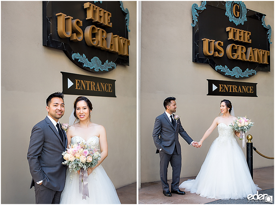 Wedding at The US Grant - photo of bride and groom.