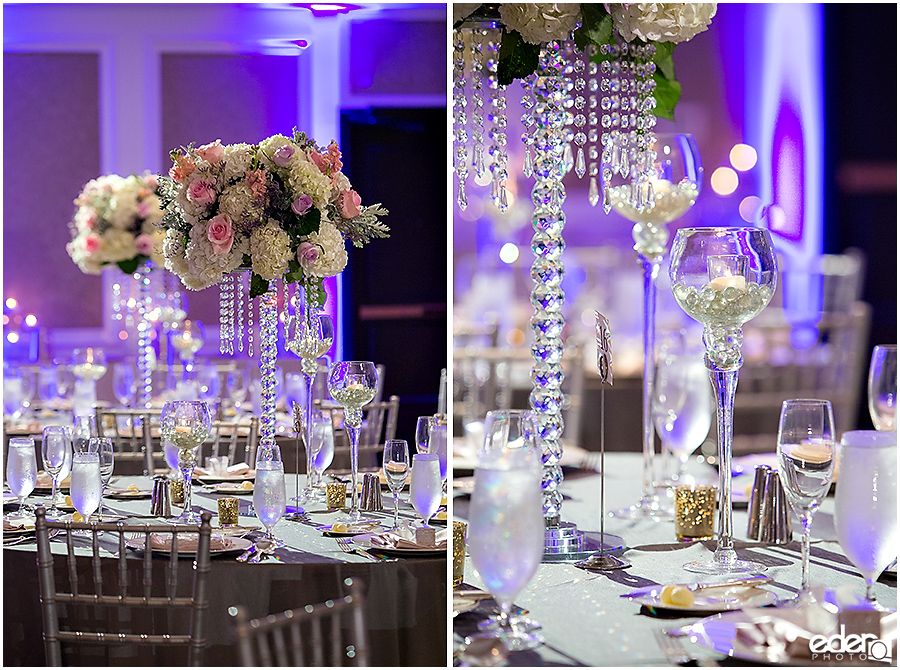 Wedding at The US Grant - photo of centerpieces.