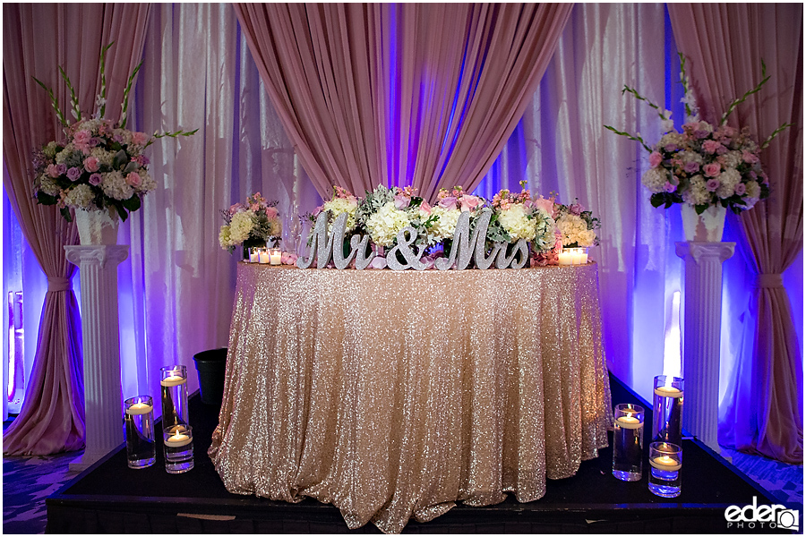 Wedding at The US Grant - photo of sweetheart table.