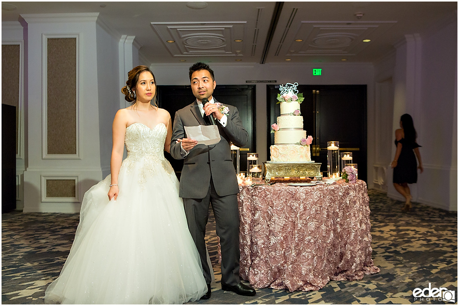 Wedding at The US Grant - photo of couple's toast.