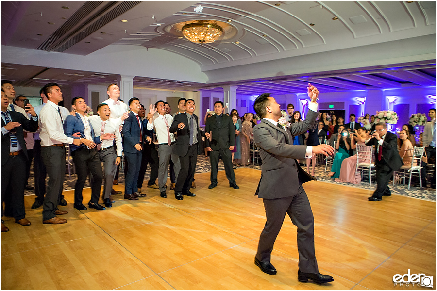 Wedding at The US Grant - photo of garter toss.