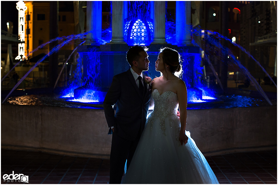 Wedding at The US Grant - night portraits outside with fountain.