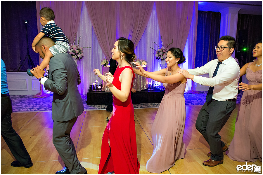 Wedding at The US Grant - photo of conga line.