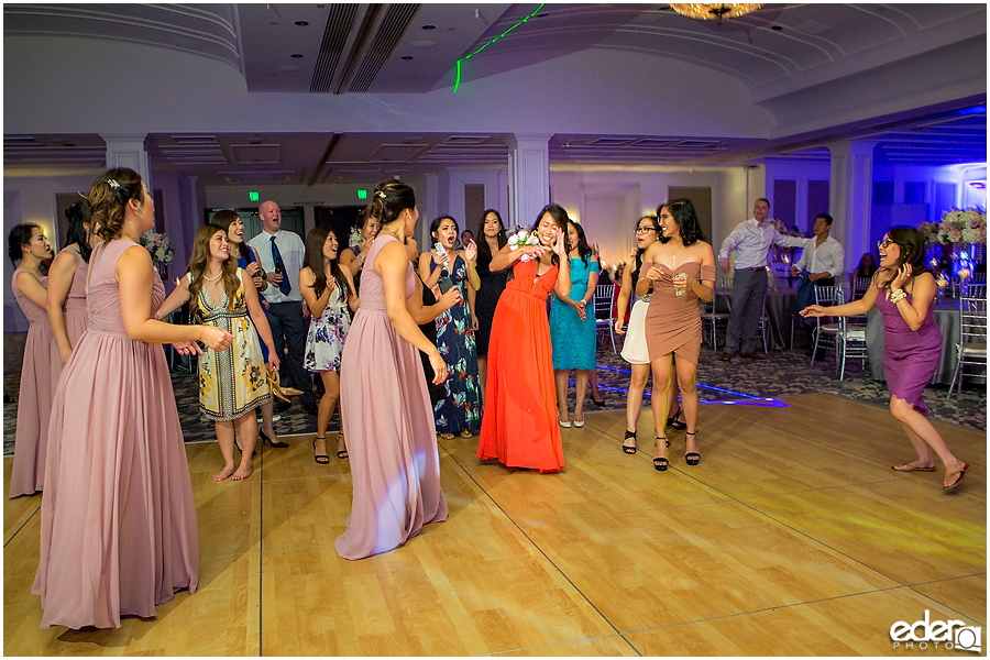 Wedding at The US Grant - photo of bouquet toss.