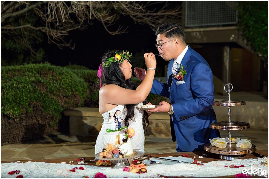Francis Parker School Wedding reception cake cutting