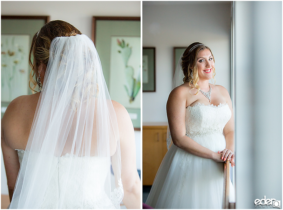 San Diego Natural History Museum Wedding - bride in conference room.