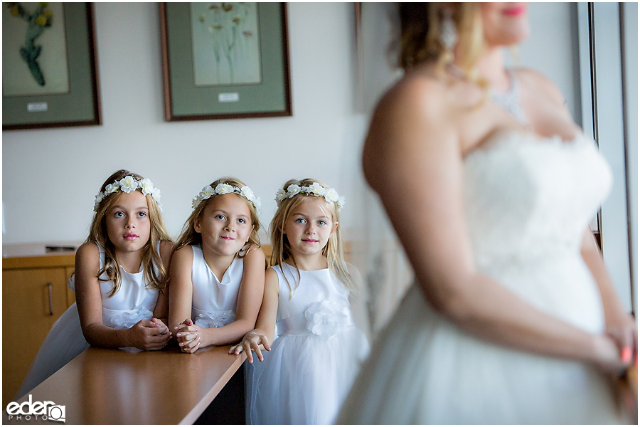 San Diego Natural History Museum Wedding - flower girls in conference room
