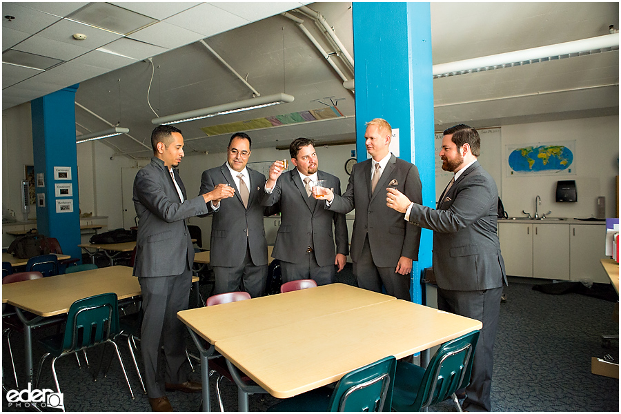 San Diego Natural History Museum Wedding - groomsmen in classroom