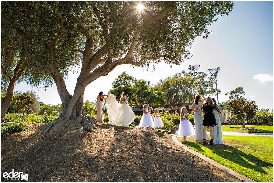 San Diego Natural History Museum Wedding - Bridesmaids in Rose Garden.