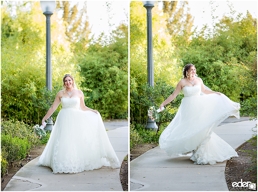 San Diego Natural History Museum Wedding -bride and groom photos in Balboa Park.