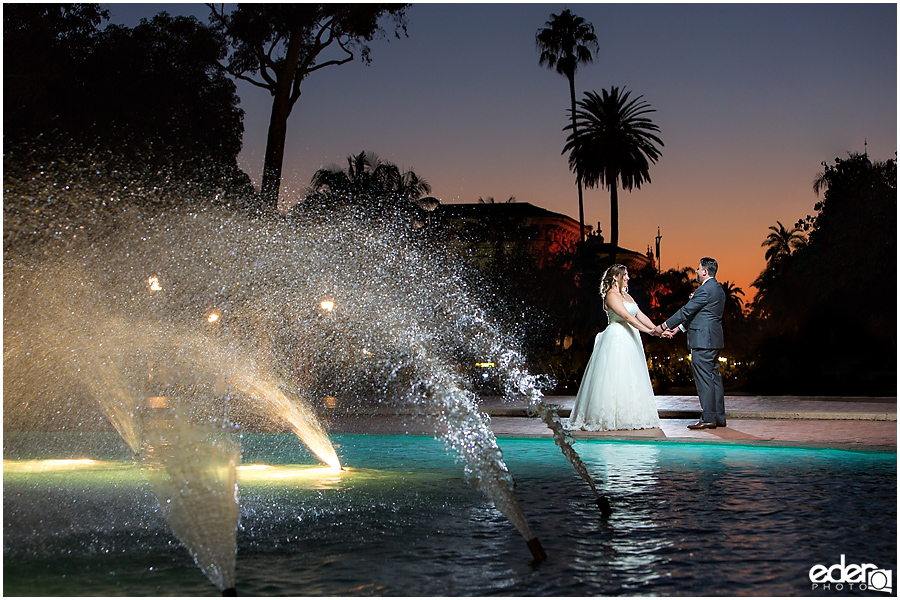 San Diego Natural History Museum Wedding Reception - sunset fountain photos