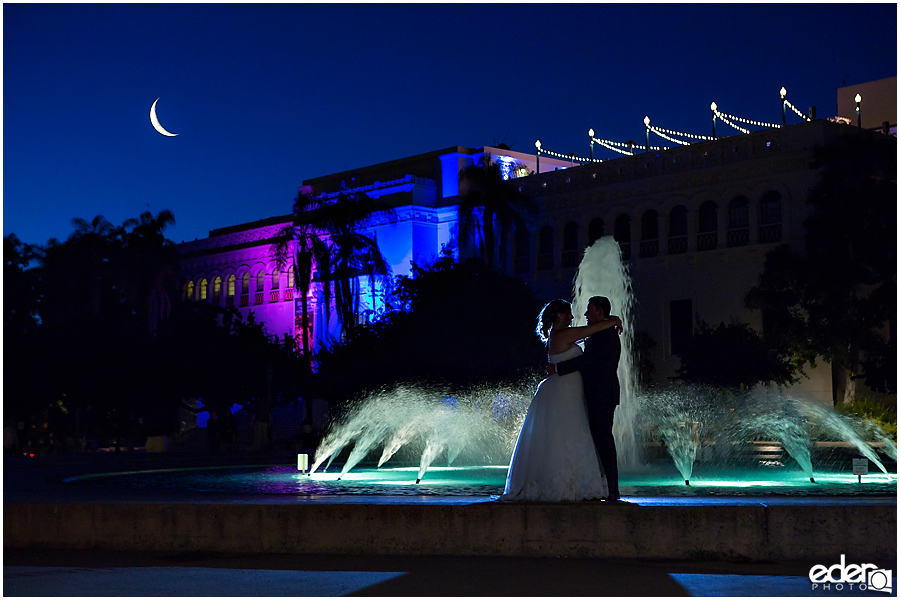 San Diego Natural History Museum Wedding Reception - night fountain photo