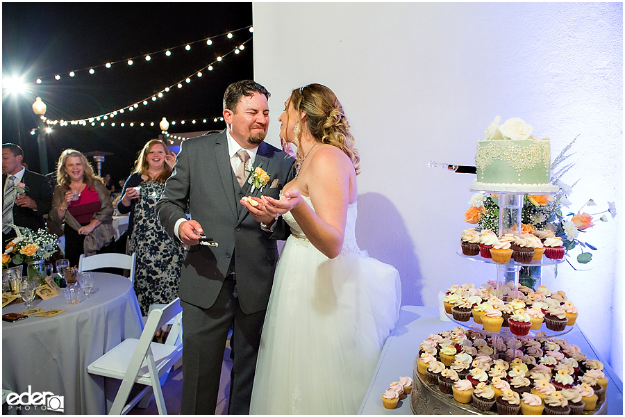 San Diego Natural History Museum Wedding Reception - cake cutting