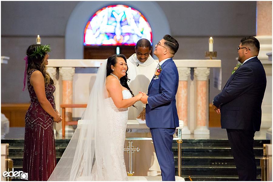The Immaculata Wedding Ceremony ring exchange